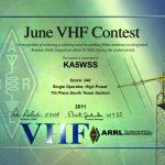 June VHF 2011 Certificate