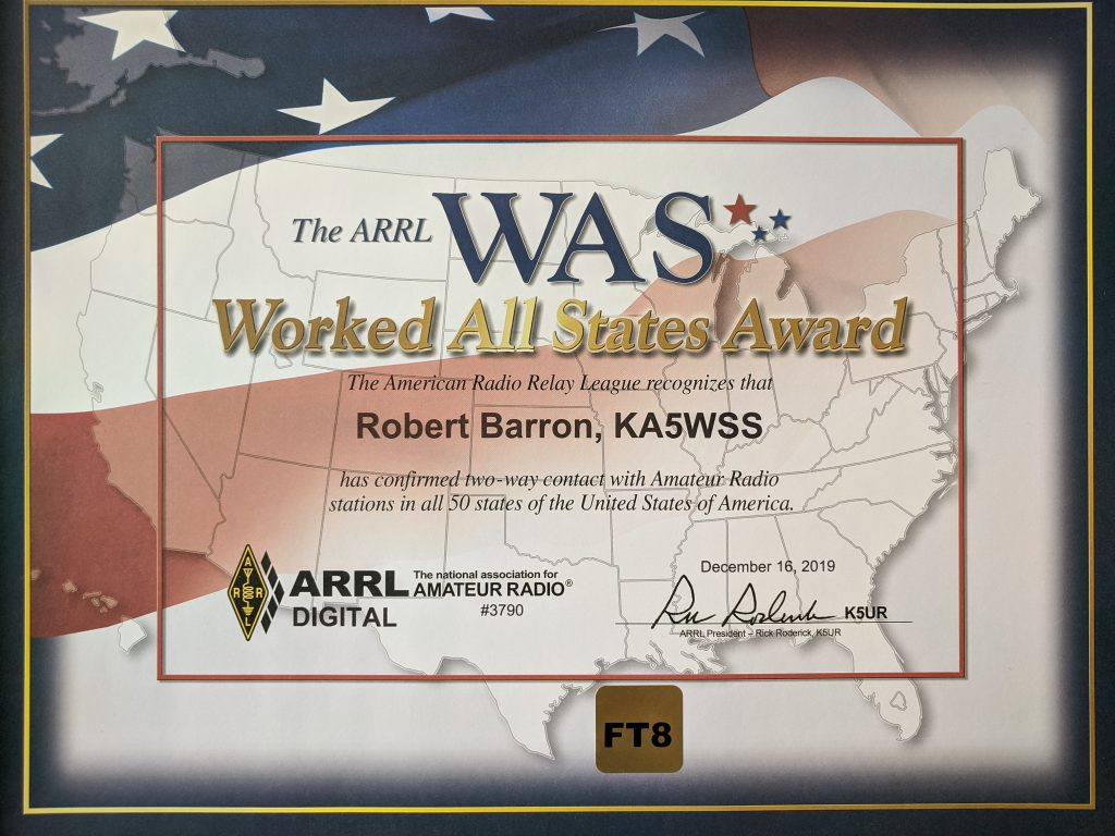 Worked All States (WAS) Digital certificate