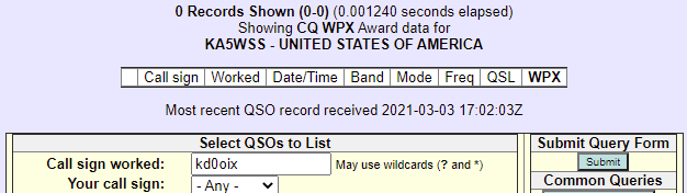 LoTW query results for KD0OIX.