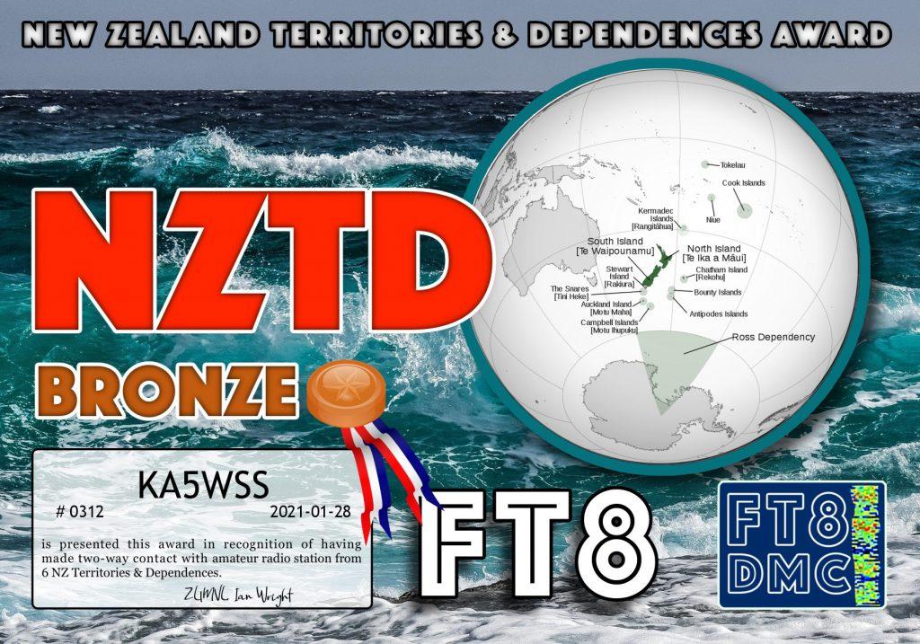 New Zealand Territories & Dependencies Award certificate
